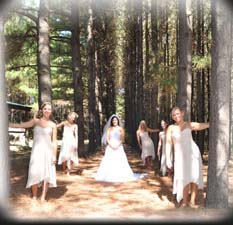 outdoor wedding site with rental cabins for guest